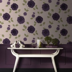 Charlotte Cream & Purple Wallpaper