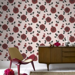 Charlotte Red & Beige Wallpaper