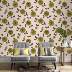 Charlotte Green & Cream Wallpaper