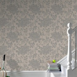 Jacquard Cream Beige Floral Wallpaper