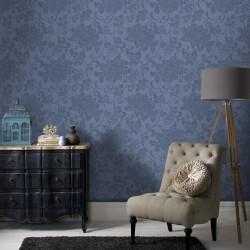 Jacquard Blue Floral Wallpaper