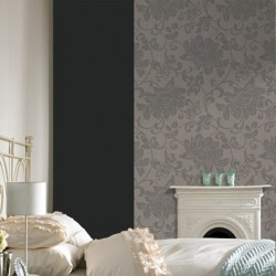 Jacquard Mocha Brown Floral Wallpaper