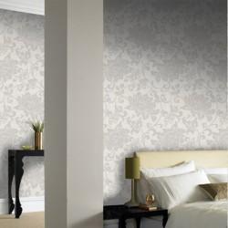 Jacquard White Floral Wallpaper
