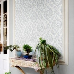 Magny Argent Grey Damask Wallpaper