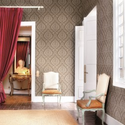 Magny Pierre Taupe Grey Damask Wallpaper