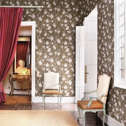 Corcelle Pierre Taupe Grey Floral Wallpaper