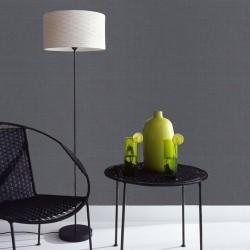Linen Texture Midnight Charcoal Wallpaper