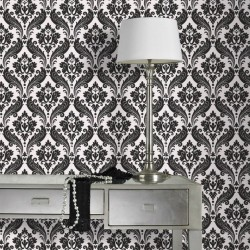 Vintage Flock Black & White Wallpaper
