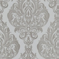 Kinky Vintage Grey Flock Wallpaper