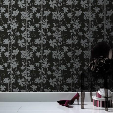 Paradise Garden Black 20 443 Wallpaper Black Silver