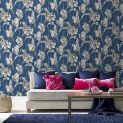 Harem Tulips Blue Wallpaper