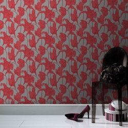 Harem Tulips Coral Pink Wallpaper