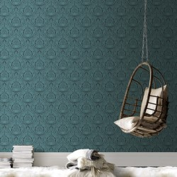 Voysey Turquoise Damask Wallpaper