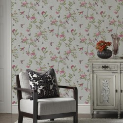 Chinoiserie Parchment Cream Floral Wallpaper