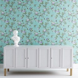 Chinoiserie Jade Green Floral Wallpaper