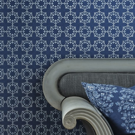 Anchor Tile Marine Blue Wallpaper