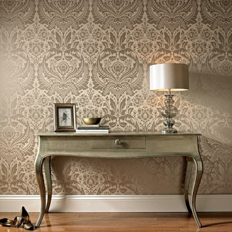 Desire taupe cream damask wallpaper desire gold damask - Interieur taupe beige ...