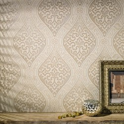 Labyrinth Cream Beige & Gold Damask