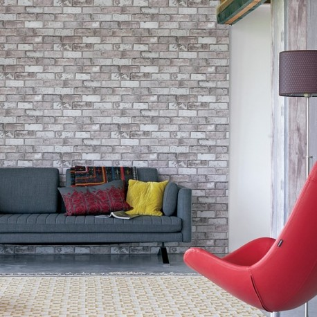 Stone world grey brick wallpaper direct brick effect for Grey brick wallpaper bedroom