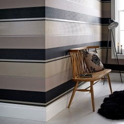 Spice Black & Gold Striped Wallpaper