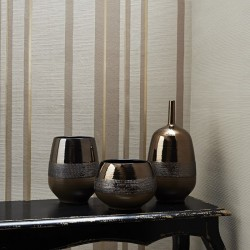 Hoppen Taupe Grey and Gold Striped Wallpaper