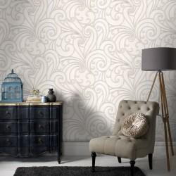 Saville White Wallpaper