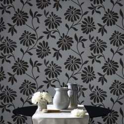 Ophelia Charcoal Black Flock Wallpaper