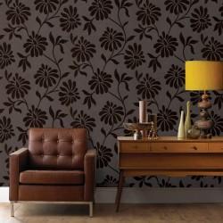 Ophelia Brown Flock Flower Wallpaper