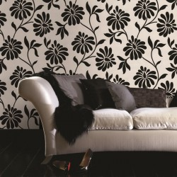 Ophelia Black and White Floral Flock Wallpaper