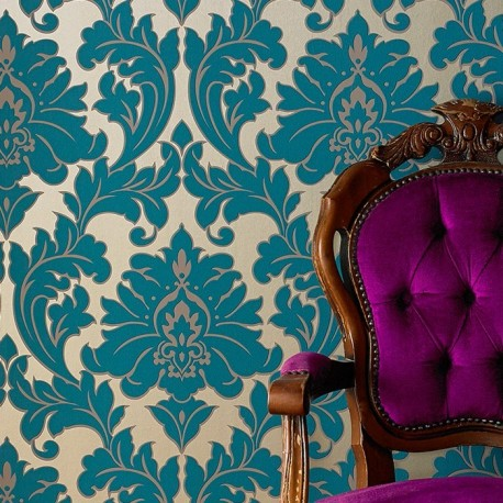 Majestic teal 30 435 wallpaper teal damask wallpaper for Ornament tapete rosa
