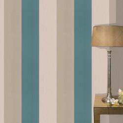 Figaro Teal, Cream & Gold Wallpaper