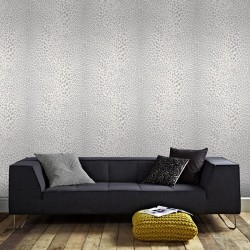 Leopard Skin White and Silver Grey Wallpaper