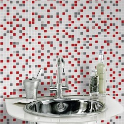 Checker Rouge Red & Grey Wallpaper