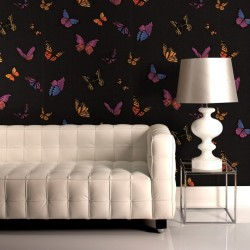 Flutterby Butterfly Black Wallpaper