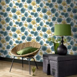 Poppies Teal Wallpaper