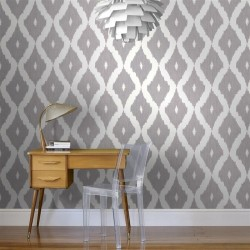 Kellys Ikat Grey White Wallpaper
