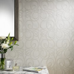 Jazz White Art Deco Wallpaper