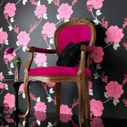 Shantung Black and Pink Wallpaper