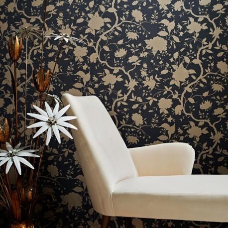 Botanic Charcoal Black And Gold Floral Wallpaper By Kelly Hoppen Flower Designer