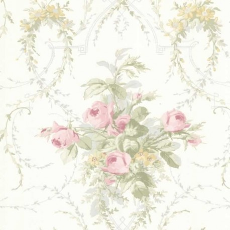 Buy verdant rose swag pink green fd fd66804 floral for Bright pink wallpaper uk