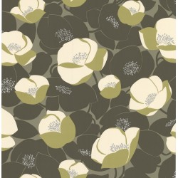 Field Poppies Dark Green Wallpaper