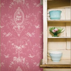 Flourish Rose Toile Dark Pink Vintage