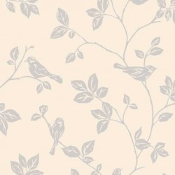 Leaf and Birds Beige
