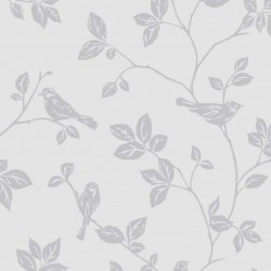 Leaf and Birds Soft Grey