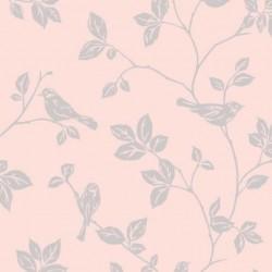 Leaf and Birds Pink