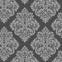 Damask Charcoal and Silver