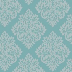 Damask Teal and Silver