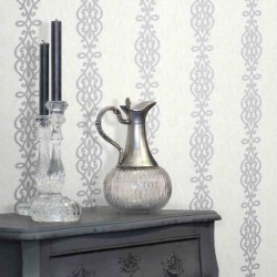Alvina Ironwork Stripe White and Silver