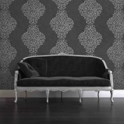 Lux Foil Damask Black