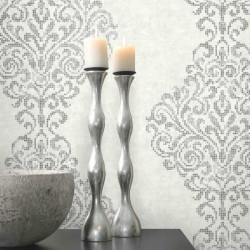 Lux Foil Damask White and Silver